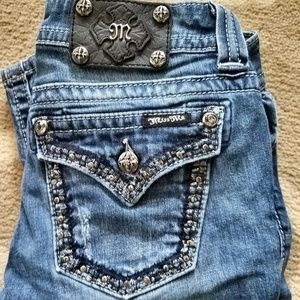 ⛤ MISS ME 26 Distressed Rhinestone Bootcut Jeans